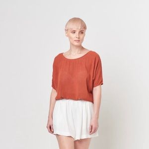 Tina + Jo orange silk noil combo tunic shirt  XS